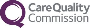 textual logo of Care Quality Commission with an icon of a big Q